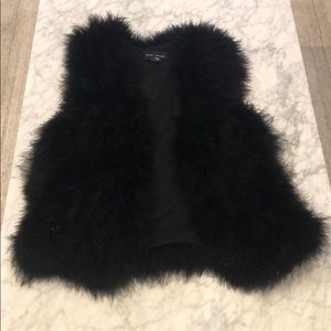 Club Monaco Faux Feather Vest - Black